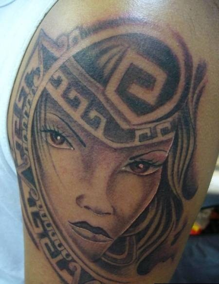Pretty Aztec Girl Tattoo For Men's Sleeve