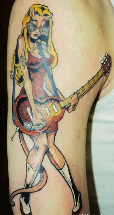Pretty Band Girl Play Guitar Tattoo For Men