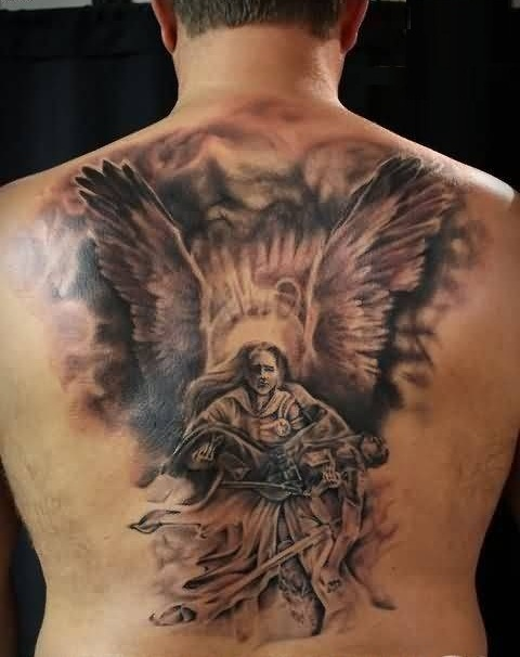 Realistic Angel Wings Tattoo For Men's Back