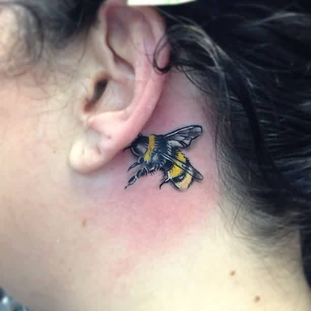 Realistic Bee Tattoo Design On Behind Ear