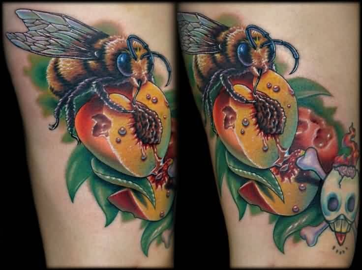 Realistic Funny Bee And Peaches With Crazy Skull Tattoo