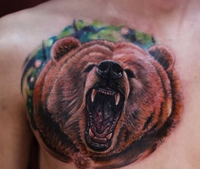 Realistic Grizzly Angry Bear Tattoo For Handsome Men