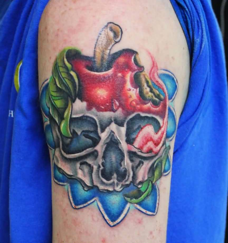 Skull And Apple Tattoo On Sleeve