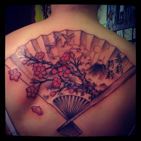 Red Flowers And Asian Fan Tattoo For Women's Back