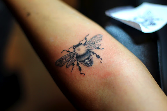 Small Bee Tattoo On Lower Arm