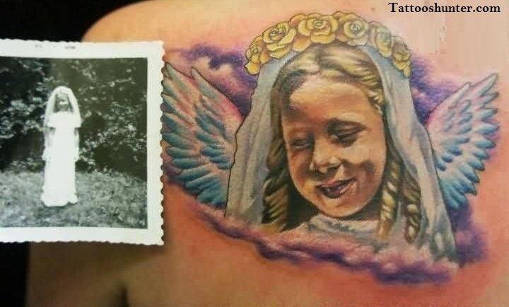 Sweet Smiling Angel Girl Tattoo On Back