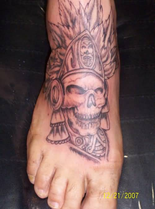 Spooky aztec skull tattoo on men s foot for Mens foot tattoos