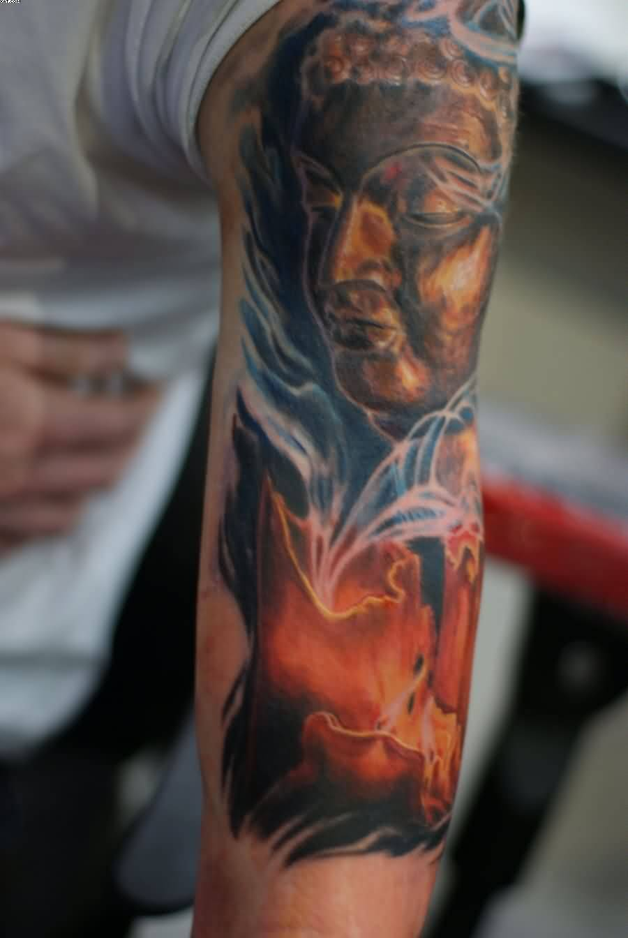 Stylish Buddha Face Tattoo For Men's Arm