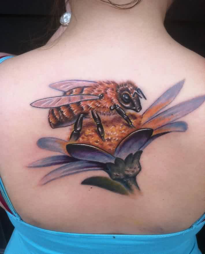 bee flower tattoo ideas and bee flower tattoo designs. Black Bedroom Furniture Sets. Home Design Ideas