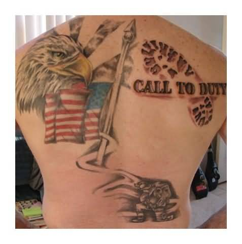 Threesome american flag eagle and call to duty text tattoo on mens threesome american flag eagle and call to duty text tattoo on mens back publicscrutiny Image collections