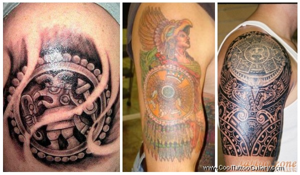 Threesome Aztec Warrior And Mask Tattoo On Men S Sleeve