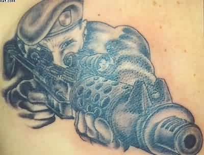 Trendy Tattoo Of Army Gun
