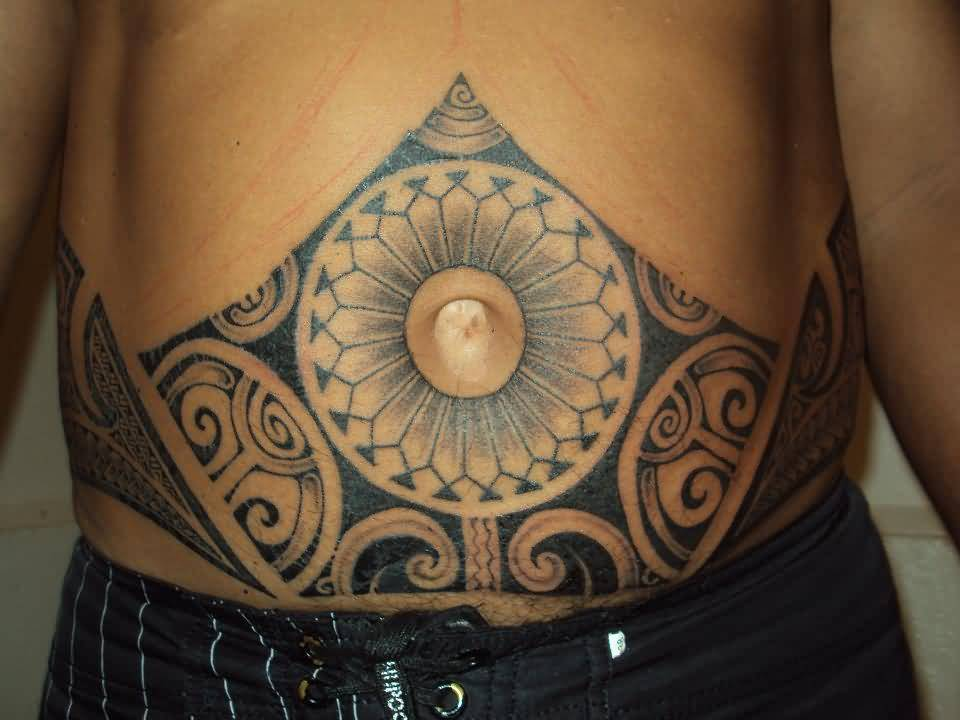 Tribal And Phylogenetic Tree Tattoo Make On Men's Belly