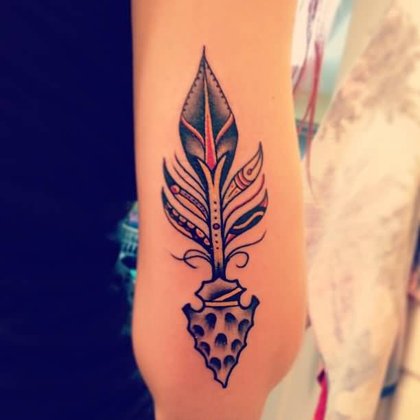 Tribal Arrow Tattoo For Lady