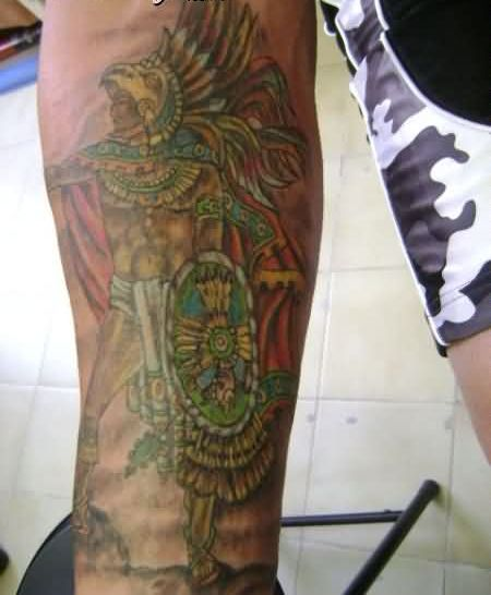 Aztec Lady Tattoo On Lower Arm