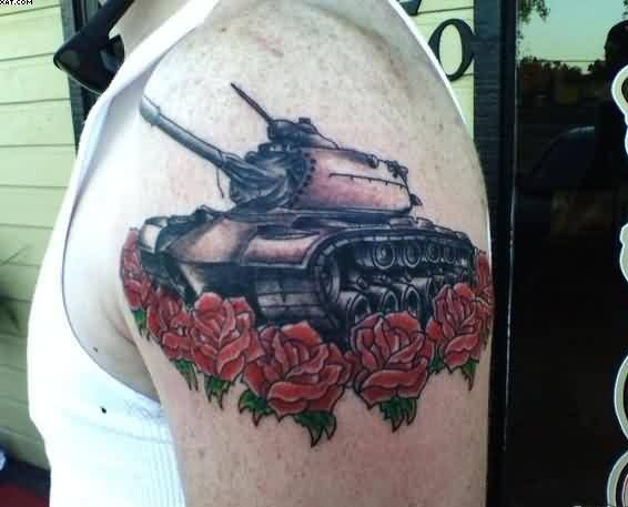 Upper Sleeve Tattoo Of Army Tank