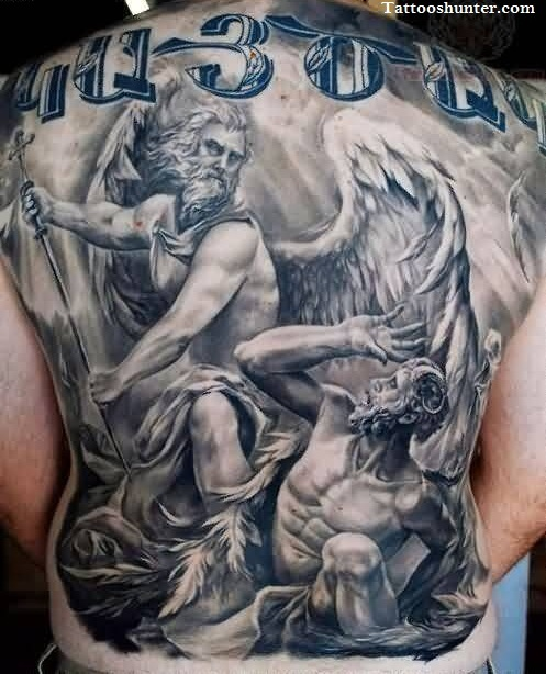 Old Angel Fighting Tattoo For Men's Back