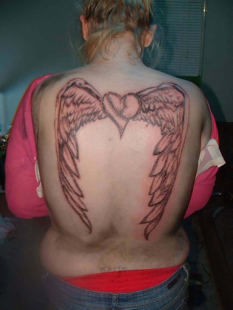 Women Back Coverup With Angel Wings Tattoo