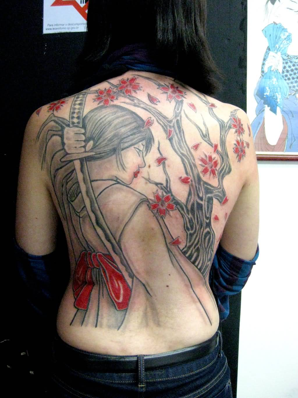 Women full back coverup with asian warrior and sword for Full back tattoos women