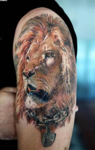 Wonderful African Lion Tattoo For Men's Arm