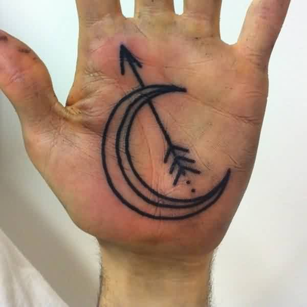 Wonderful Arrow And Moon On Inner Hand