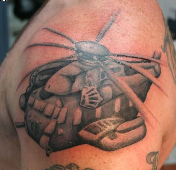 Wonderful Army Helicopter Tattoo On Shoulder