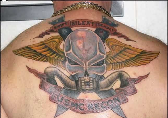 Wonderful Army Skull Tattoo On Back