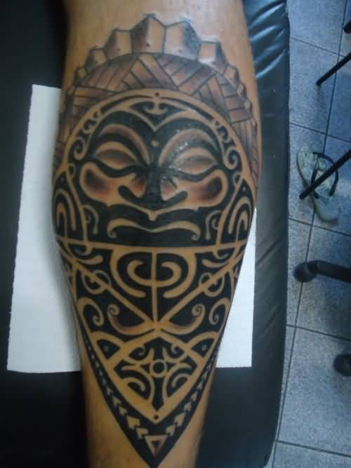 Wonderful Aztec Mask Tattoo For Men