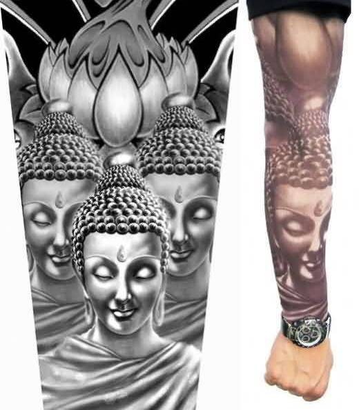 Wonderful Buddha Face Tattoo On Full Arm