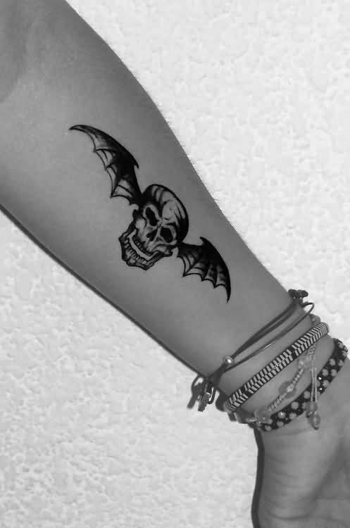 Wonderful Death Bat Skull Tattoo For Pretty Women