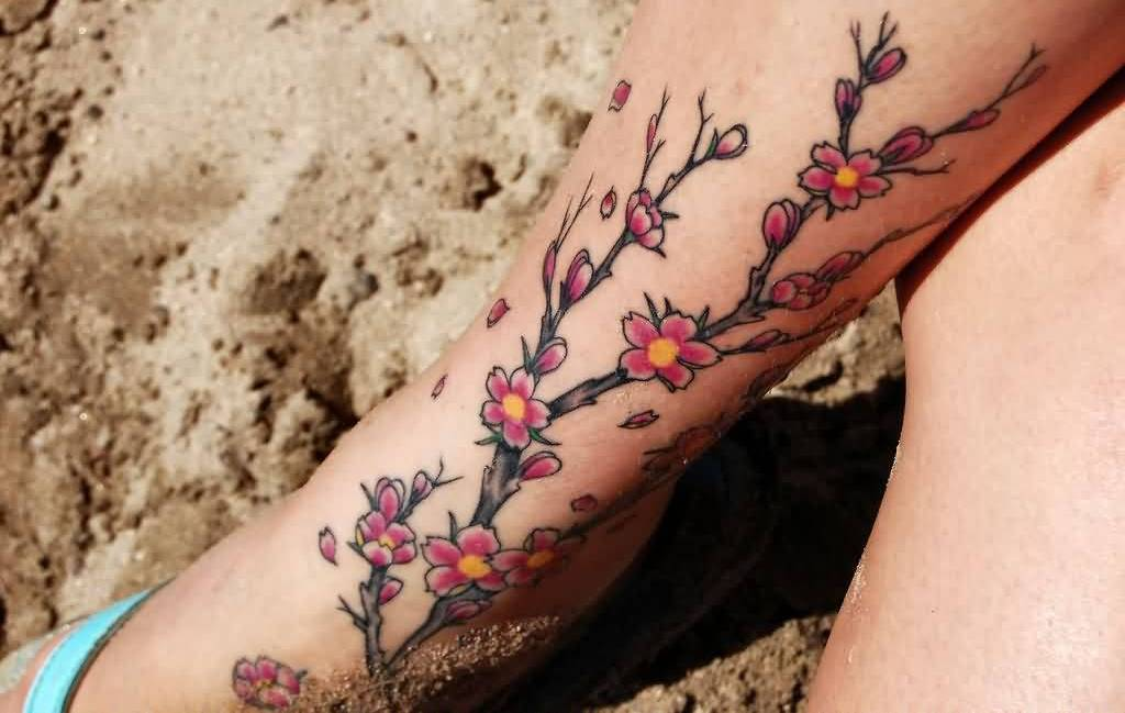Wonderful Flower Tattoo For Lady's Ankle