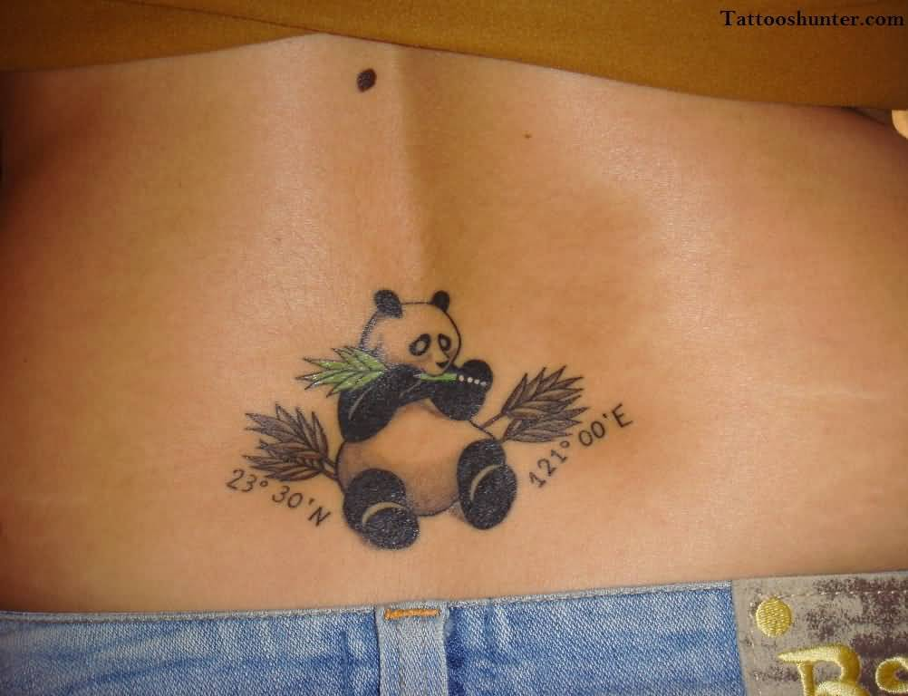 Fabulous Panda Tattoo Design On Lower Back