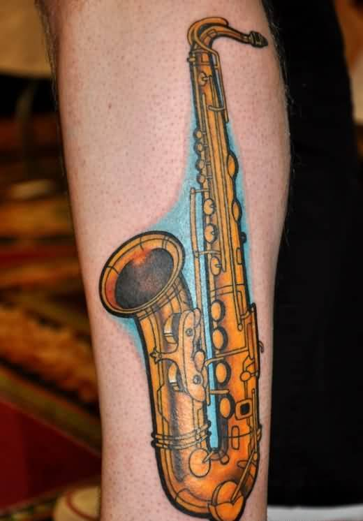 Yellow Band Instrument Tattoo Design