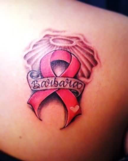 Amazing Breast Cancer  Symbol Tattoo On Back Shoulder1
