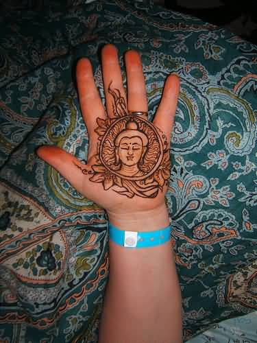 Amazing Buddha Tattoo Design For Palm