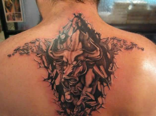 Angry Roaring Ripped Skin Tattoo Of Bull 4