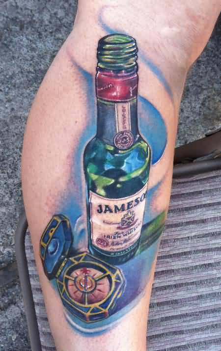 Attractive Jameson Wine Bottle Tatttoo On Leg5