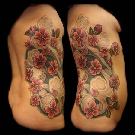Attractive Women Show Marvelous Cherry Blossom Tattoo On Rib Side 16