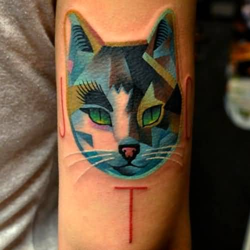 Awesome Cat Face Tattoo Design Made By Expert 1