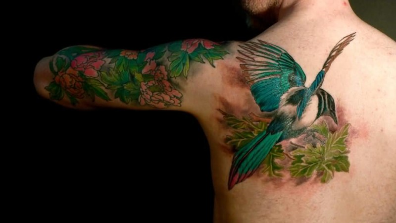 Awesome Flying Bird Tattoo For Men's Back7