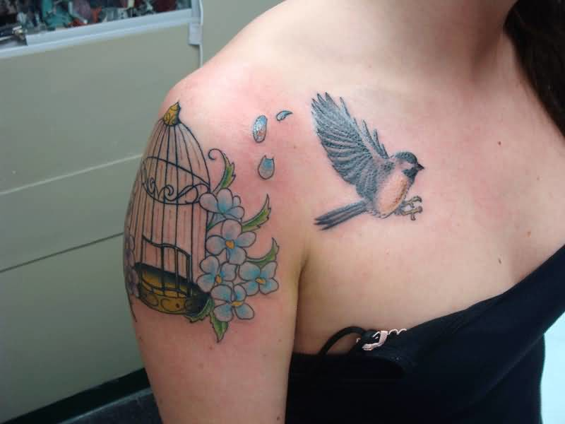 Beautiful Bird And Bird Cage With Blue Flowers Tattoo for Crazy Women4
