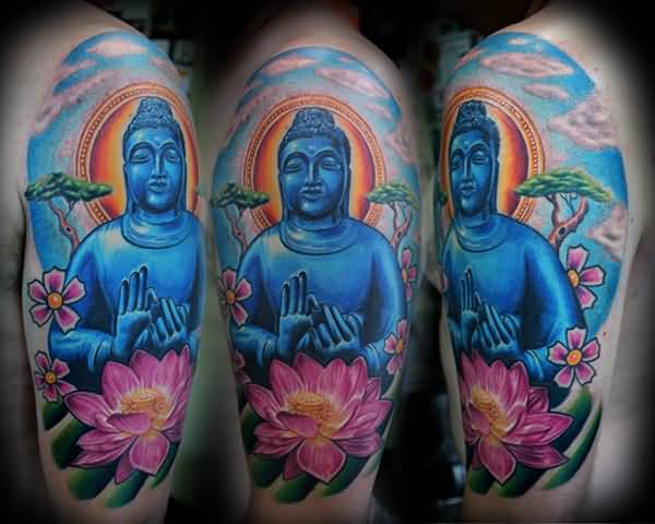 Beautiful Blue Medicine Buddhist And Lovely Pink Lotus Flower Tattoo On Upper Sleeve     109