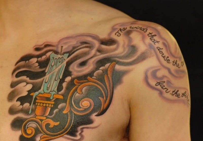 Men chest decorated with skull with burning candle tattoo related tattoo designs sciox Images
