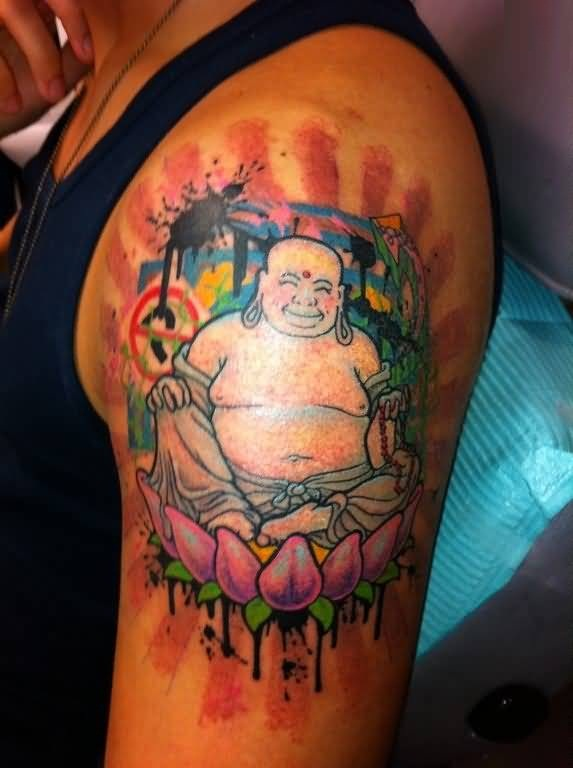 Big Laughing Buddha Sitting On  Pink Flowers Tattoo For Upper Sleeve  2