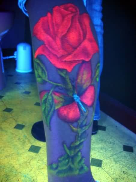Brilliant Blacklight Beautiful Red  Rose And Pretty Butterfly Tattoo On Leg2