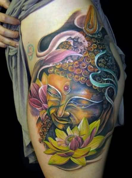 Brilliant Buddha Head And Colourful Flower Tattoo Made By Artist   3