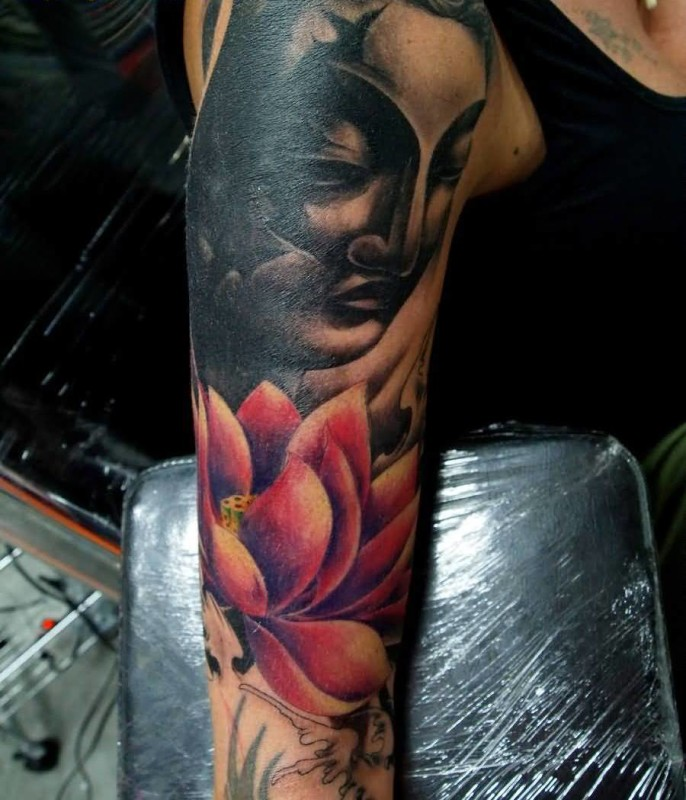 Brilliant Buddhist Head And Colourful Flower Tattoo For Sleeve   7