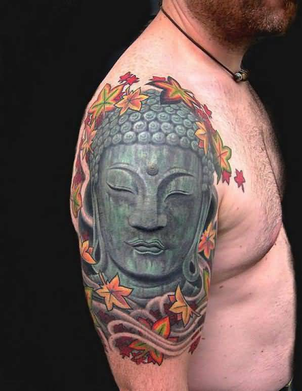 Brilliant Buddhist Head And Colourful Flowers Tattoo For Handsome Men  2