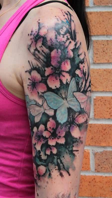 Brilliant Butterfly And Realistic Cherry Blossom Tattoo Design For Upper Sleeve 5