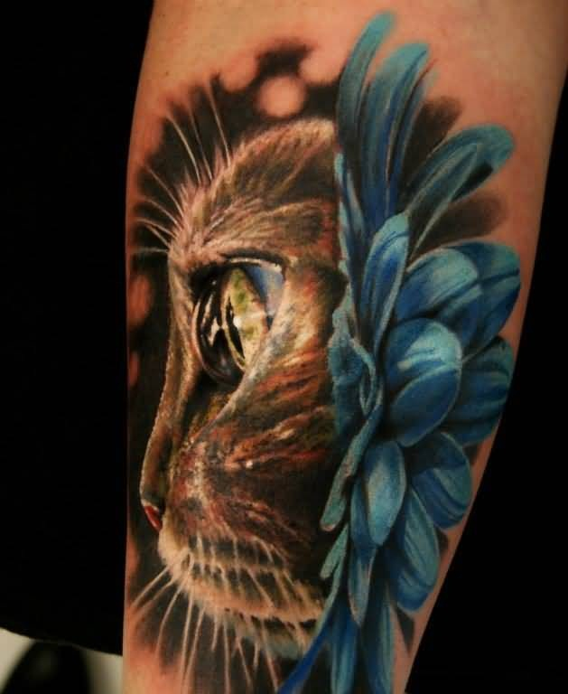 Brilliant Cat Face And Lovely Blue Flower Tattoo 7